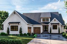 Young House Love, Modern Farmhouse Exterior, Farmhouse Style, Home Design, Bungalow, Board And Batten Exterior, American Houses, Exterior Siding, Exterior Colors