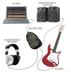 USB GUITAR TO PC INTERFACE CABLE LINK AUDIO ELECTRIC ACOUSTIC PRE AMP AMPLIFIER