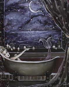Mermaid bathes under the crescent moon. Arte Obscura, Witch Art, Mermaid Art, Dark Art, Magick, Fantasy Art, Art Drawings, Art Photography, Images