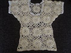 Crochet pale yellow flower girls romantic summer top by krittenart