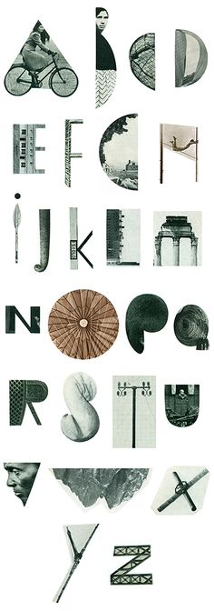 """""""Hunting alphabet"""" by Pascale Bonenfant // Alphabet made from the book in 7 volumes """"Countries and Nations, the world in color,"""" edited by Grolier Limited Quebec in the early 50s. The 26 letters were found, imagined and cut from its pages"""