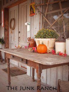 Simple Fall Farm Table on my studio porch - Fall - Autumn
