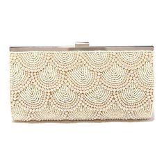 Pearly to Rise Beige Beaded Clutch ($49) ❤ liked on Polyvore featuring bags, handbags, clutches, brown, imitation purses, beige clutches, tan handbags, print purse and print handbags