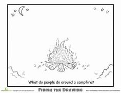 Second Grade People Nature Worksheets: Complete the Picture: Campfire Worksheet