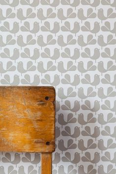 New from UK-based Rachel Powell, the Woodstock Wallpaper is screen printed in cloud (as shown), mustard, and pepper; $137.11 per roll at Just Kids Wallpaper. Free sample shipping available.