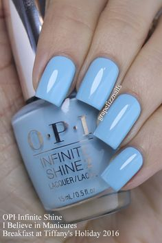 "OPI Infinite Shine ""I Believe in Manicures"" (Breakfast at Tiffany's Collection) Accessories care Color Tools Makeup Free Makeup Makeup Light Nail Polish, Green Nail Polish, Green Nails, Nail Polish Colors, Nails Now, Opi Nails, Nail Manicure, Pedicure, Bright Nails"