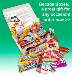 Decade Boxes...  Candy assortments from the 1950s, 60s, 70s, 80s or All Decades, available in two sizes.