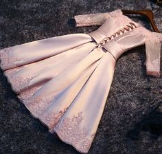 Pink Boat-Neck Satin Appliques Lace-Up Bridesmaid Dress - My Wedding Ideas