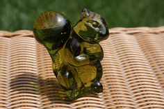 Green Glass Squirrel Figurine  Fenton by TheClayPenguin on Etsy