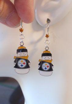 Pittsburgh Steelers Earrings, Steelers Jewelry, Steelers Snowman Charm Gold Crystal Earrings, Pro Football Steelers Bling Accessory by scbeachbling on Etsy