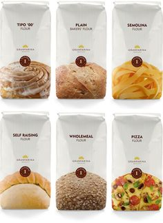 Simple and Clear Flour Packaging! Designed by Mangion & Lightfoot.