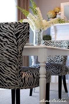 One of my best girl friends is a big zebra lover. When I say big, what I really mean is HUGE - huge as in almost every room in her house is decorated with zebra Animal Print Furniture, Animal Print Decor, Animal Prints, Animal Print Bedroom, Zebra Chair, Leopard Chair, Zebra Decor, Dear Lillie, Dining Room Chairs