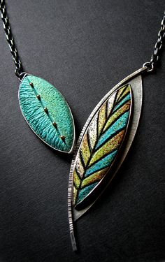 Grace Stokes Designs - Striped Leaf Pendant - Oxidized Sterling Silver and Hand Colored Polymer Clay -  www.gracestokesdesigns.com