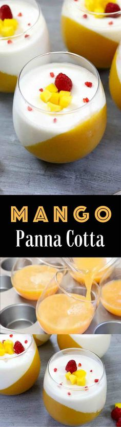 The Best Mango Panna Cotta – looks so elegant and tastes so delicious that you won't believe how easy it is to make! Creamy, rich and smooth dessert topped with fresh mango and raspberries. All you need is some simple ingredients: fresh mango, mango juice, gelatin, milk, heavy cream and vanilla extract. Wow your guest with this refreshing dessert at your next party! No bake, easy dessert. Video recipe. | http://Tipbuzz.com