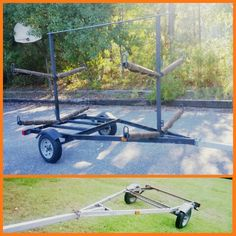 Kayak trailer hauler holds 4-8. Old boat trailer conversion. Cost $180.