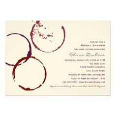 Winery Wedding Invitations Bridal Shower Invitation | Wine Stain Rings