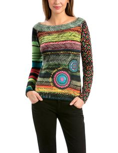 Desigual Women's Long Sleeve Pullover with Elastic Cuffs Cool Style, My Style, Colourful Outfits, Colorful, Pullover, Online Fashion Stores, Shirt Blouses, Winter Fashion, Collection