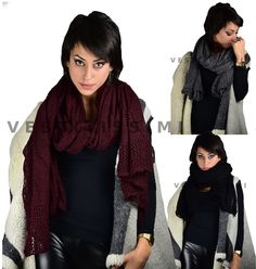 Sciarpa donna lana larga sciarpe foulard scialle coprispalle scarf traforata As2