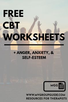 Free Therapy Worksheets - Free Therapy Worksheets: CBT, anger, anxiety, & self-esteem Cbt Therapy, Free Therapy, Therapy Tools, Anxiety Therapy, Therapy Quotes, Play Therapy, Speech Therapy, Group Therapy Activities, Counseling Activities