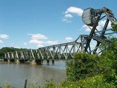 Saginaw Bascule Railroad Bridge, Over Saginaw River, Saginaw: Saginaw County, Michigan, 1944, By: American Bridge Company of New York, New York, An exceedingly rare example of the unusual patented Abt type bascule bridge.