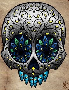 I like the colors...but i would want it as a full skull, not missing the jaw...