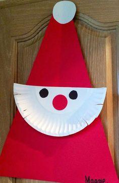 Paper Plate Santa || 15 Christmas Crafts for Kids #christmascraftforkids