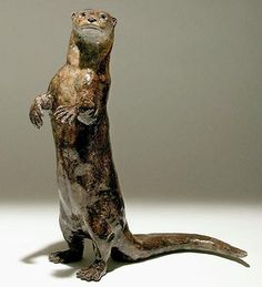 'Otter, on haunches' by Nick Mackman. Low fired raku clay. £890. http://www.lyndhurstgallery.co.uk/gallery_detail.asp?id=1736#