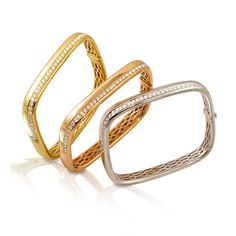 Emma Bangles available in yellow, rose or white gold with brilliant diamonds. Modern Jewelry, Fine Jewelry, Diamond Bracelets, Diamond Jewelry, Gold Jewelry, Jewellery Bracelets, Jewelry Rings, Jewelery, Gold Bangles Design