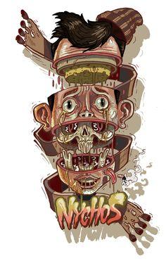 Cheesebrain by Nychos - Art and Graffiti by Nychos Featuring Skulls http://skullappreciationsociety.com/art-and-graffiti-by-nychos-featuring-skulls/ via @Skull_Society
