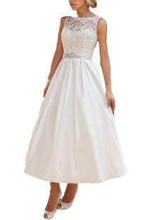 7559455694 Yxjdress Women Tea-length Elegant A-line Short Wedding Dresses Bridal Gowns