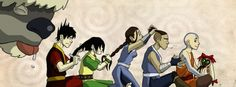 Getting their hair done. Poor Sokka just doesn't know what to do.