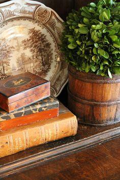 Farmhouse Decorating ~ Beautiful Vignette ~ Transferware ~ Old Books ~ Boxwood Plant