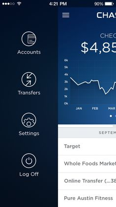 Chase Bank App Exploration by Samuel Thibault for Handsome Like the way the chart is done w/ a blue background and white text Web Design, App Ui Design, User Interface Design, Tool Design, Chase Bank, Wireframe, App Drawer, Application Design, Mobile Application