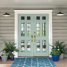 Front Door Paint Colors, Exterior Front Doors, Exterior Paint Colors For House, Grey Exterior, Painted Front Doors, Paint Colors For Home, Stucco House Colors, Exterior Paint Color Combinations, Best Front Door Colors