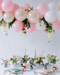Trend alert 20 prettyperfect balloon decor ideas balloon reimagine in colors for katya love the look of the florals mixed in with the balloon garland junglespirit Images