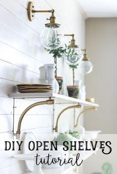 Easy DIY open shelves tutorial - so elegant!