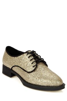 Sequined Solid Color Lace-Up Flat Shoes