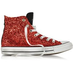 Converse Limited Edition All Star Hi Black Canvas w/Red Glitter LTD... (€135) ❤ liked on Polyvore featuring shoes, sneakers, converse, canvas shoes, black canvas sneakers, black canvas shoes, red sneakers and red canvas sneakers