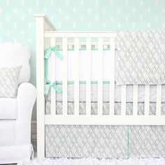 Micah's Mint Baby Bedding  2 or 3 piece by CadenLaneBabyBedding