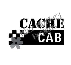 Cache Cab - vinyl car auto vehicle decal sticker geocaching geocache - CUSTOM COLOR - Made to order!