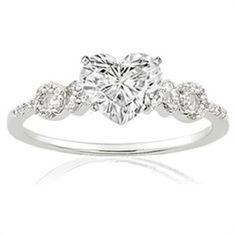 heart shaped diamond engagement ring with round cut diamonds in prong setting 98 ctw - Heart Wedding Rings
