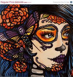 Dia de los muertos Stretched Canvas Print 20 by 20    in  Lowbrow Tattoo Home Decor  Deaths dead hawk moth