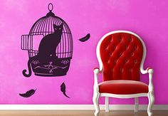 Yes, it's a Cat in a Bird Cage - the stylish wall decals for your home from My-Wall-Decal.com are made in USA. Enjoy decorating the easy way!
