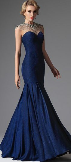 eDressit Blue Formal Crystal Beaded Evening Dress