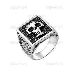 anillo de craneo negro en acero plata inoxidable para hombre -SSRGG271908