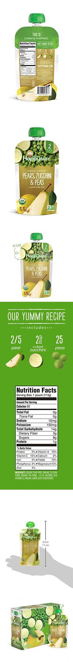 Happy Baby Clearly Crafted, Organic Baby Food, Stage 2, Pears, Zucchini & Peas, Stage 2, 4.0oz Clear Pouch (16 Count)