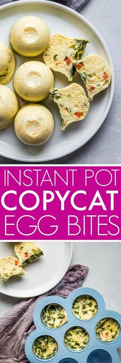Instant Pot Sous Vide Egg Bites are just like the ones you'd find at Starbucks. By making them at home in your electric pressure cooker, you'll save lots of money and you can totally customize them with your favorite flavors. #instantpot #pressurecooker #instantpotrecipe #sousvideeggbites #eggbites #eggbitesrecipe #starbuckseggbites #breakfast #healthy via @platingspairing