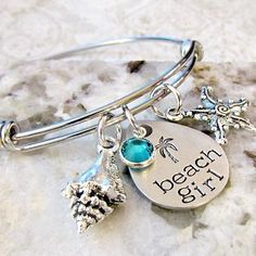 Buy Beach Girl Bangle Bracelet, Hand Stamped Palm Tree, Starfish, Shell, Cruise Jewelry by Lily Brooke Vintage on OpenSky