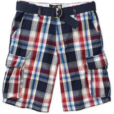 OP Men's Cargo Twill Plaid Shorts