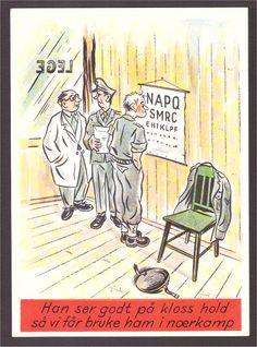 Militært humorkort av Arne Taraldsen. Forsvarets kantiner.